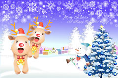 Cute christmas elements with reindeer and snowman - illustration eps10 Royalty Free Stock Photos