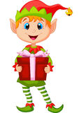 Cute Christmas Elf Cartoon Holding A Gift Stock Photography