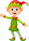 Cute christmas elf cartoon presenting Stock Photo