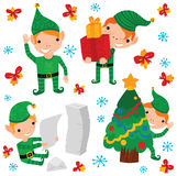 Cute Christmas Elf Characters Royalty Free Stock Images