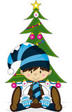 Cute Christmas Elf with Christmas Tree Stock Images