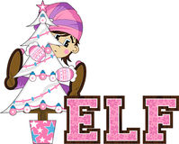 Cute Christmas Elf with Christmas Tree Royalty Free Stock Images