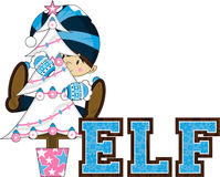 Cute Christmas Elf with Christmas Tree Royalty Free Stock Image