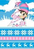 Cute Christmas Elf with Christmas Tree Royalty Free Stock Photo