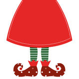 Cute christmas elf legs with skirt Stock Photos