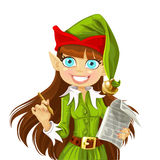 Cute Christmas Elf with pen ready to write wishes Stock Photography
