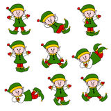 Cute Christmas Elf Set. Set of 9 cute festive elfs in various positions Stock Image