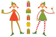 Cute Christmas elves Stock Image