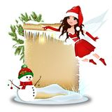 Cute Christmas fairy with blank paper Stock Photo