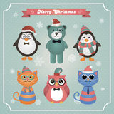Cute Christmas Fashion Hipster Animals and Pets Stock Image