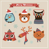 Cute Christmas Fashion Hipster Animals and Pets Royalty Free Stock Images