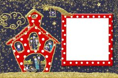 Cute Christmas frame greeting card. For children. Funny church with Nativity Scene and Three Wise Men inside and empty picture frame Royalty Free Stock Image