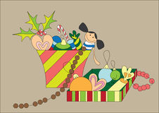 Cute christmas gifts. Illustration of cute christmas gifts, art Stock Photos