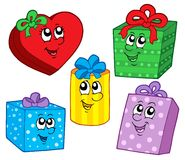 Cute Christmas gifts collection stock illustration