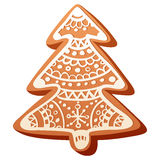 Cute christmas gingerbread cookie isolated. Cute handmade christmas gingerbread baked cookie isolated on white background vector illustration