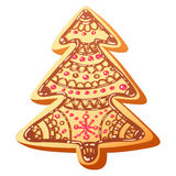Cute christmas gingerbread cookie isolated Stock Photography