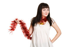 Cute Christmas girl. On white background Stock Photography