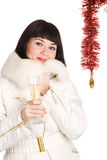 Cute Christmas girl. On white background Stock Photo
