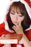 Cute Christmas girl. Half length closeup portrait on white background Stock Photos