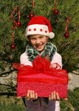 Cute Christmas girl giving a gift 1. Cute smiling girl Christmas woman giving a gift Stock Photo