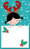 Cute Christmas Girl Holding Banner Royalty Free Stock Image