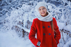 Cute Christmas girl. Christmas girl outdoor portrait. Cute teens girl in snow park Royalty Free Stock Image