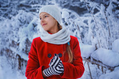 Cute Christmas girl. Christmas girl outdoor portrait. Cute teens girl in snow park Royalty Free Stock Images