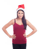 Cute Christmas Girl. In Santa Claus hat Stock Photography