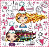 Cute Christmas girls and various beauty products. Royalty Free Stock Photo