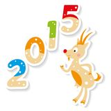 Cute Christmas Goat with 2015 number. Happy new 2015 year postcard with cute Goat stock illustration