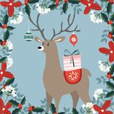 Cute Christmas greeting card, invitation with hand drawn deer bringing gift box and Christmas balls, ornaments. Floral. Frame made of holly berries, evergreen Royalty Free Stock Images