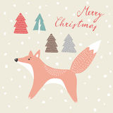 Cute christmas greeting card, invitation, with hand drawn fox in snowy wood,  Stock Photo