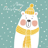 Cute christmas greeting card, invitation, with hand drawn polar bear, royalty free stock photography
