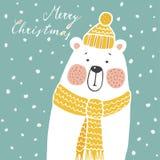 Cute christmas greeting card, invitation, with hand drawn polar bear,  Royalty Free Stock Photography