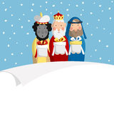 Cute Christmas greeting card, invitation with three magi bringing gifts and blank paper. Biblical kings Caspar, Melchior. And Balthazar. Flat design, vector royalty free illustration