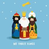 Cute Christmas greeting card, invitation with three magi bringing gifts and falling star. Biblical kings Caspar. Melchior, Balthazar and comet, flat design stock illustration