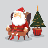 Cute  christmas greeting card with Santa Claus sitting in armchair and christmas tree Stock Images