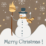 Cute Christmas greeting card with snowman Royalty Free Stock Photo