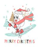 Cute Christmas greeting card with snowman skiing.Vector illustration. Cute Christmas greeting card with snowman skiing.Vector illustration vector illustration