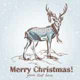 Cute Christmas hand drawn retro postcard Stock Photography
