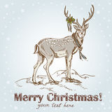 Cute Christmas hand drawn retro postcard Stock Photos