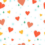 Cute Christmas heart on seamless background Stock Photography