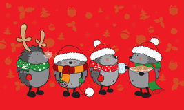 Cute Christmas hedgehogs Royalty Free Stock Photography