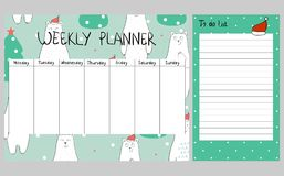 Christmas weekly planner. Cute Christmas and holiday weekly planner with bears Stock Image