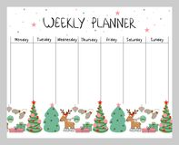 Christmas weekly planner. Cute Christmas and holiday weekly planner with Christmas elements Stock Images