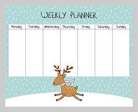 Christmas weekly planner. Cute Christmas and holiday weekly planner with deer Stock Photo