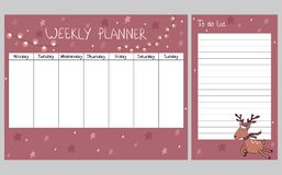 Christmas weekly planner. Cute Christmas and holiday weekly planner with deer Royalty Free Stock Photography