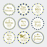 Cute Christmas and Holiday wishes wreath and emblems set. On blue Royalty Free Stock Photo