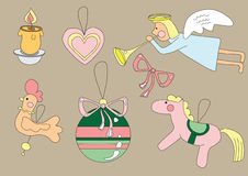 Cute christmas icons. Illustration of cute christmas icons, art Royalty Free Stock Photo