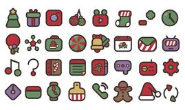 Cute Christmas Icons In Colors vector illustration